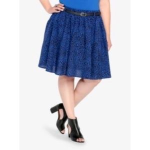 Torrid Blue Leopard Skater Pocket Skirt